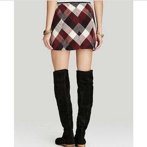 Free People Twiggy Herringbone Plaid Knit Skirt